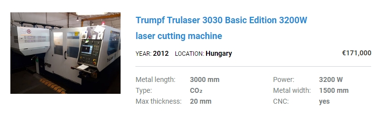 Used laser cutting machine Trumpf